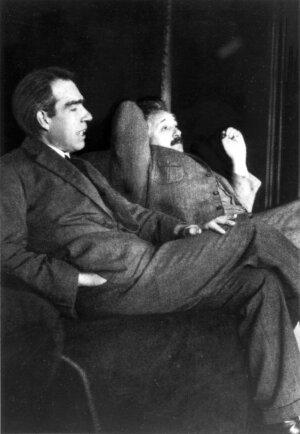 Niels Bohr and Albert Einstein debating quantum theory at Ehrenfest's home in Leiden (December, 1925)