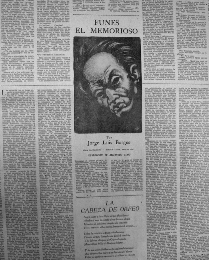 """Page three of the Arts and Letters section of La Nación on June 7, 1942, where """"Funes the Memorious"""" was first published."""