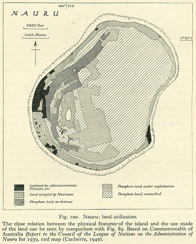 A 1940 map of Nauru showing the extend of the phosphate mined lands.