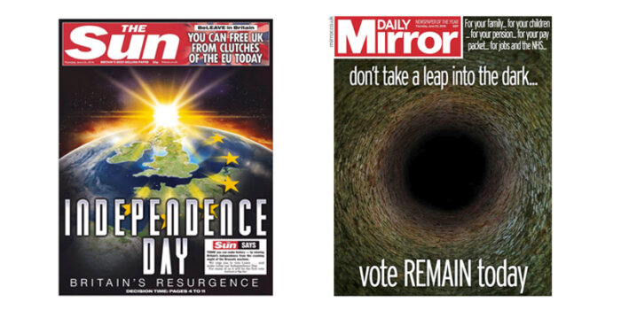 Brexit referendum. Front pages of The Sun and the Daily Mirror.